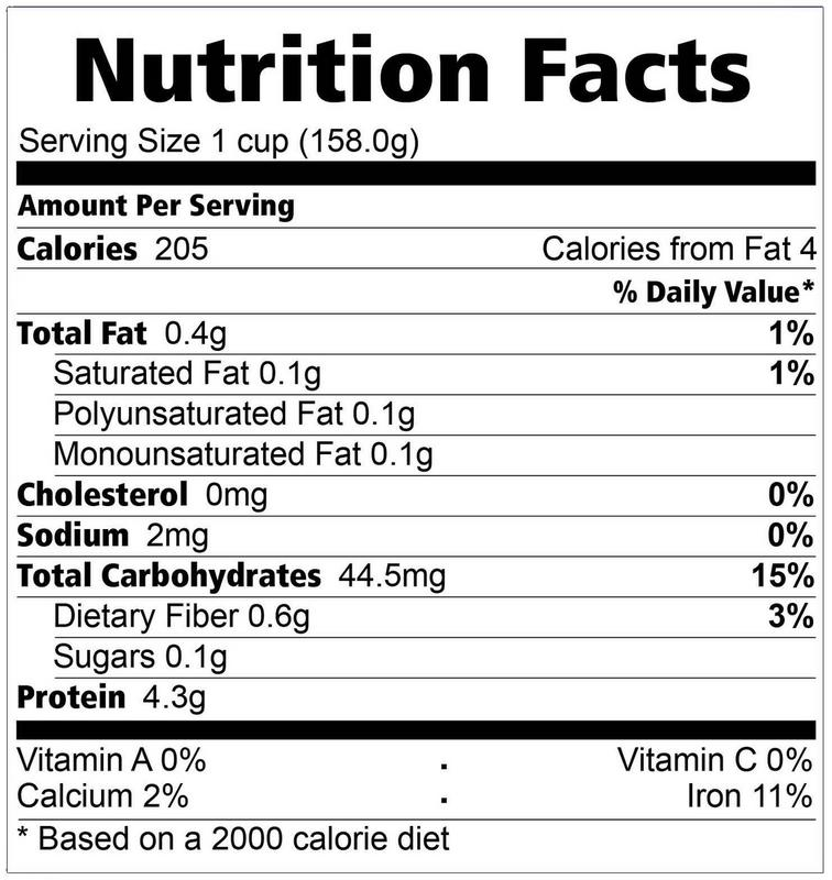 Choice Grains Processing Center Inc Healthy Ideas Nutrition Facts